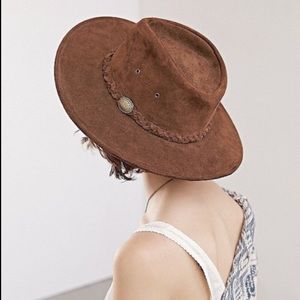 Urban Outfitters Suede Braided Band Rancher Hat
